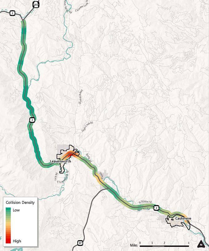 On U.S. Highway 2, collision density is highest in Leavenworth, midrange in Cashmere, lower between Leavenworth and Cashmere, and lowest between Coles Corner and Leavenworth.